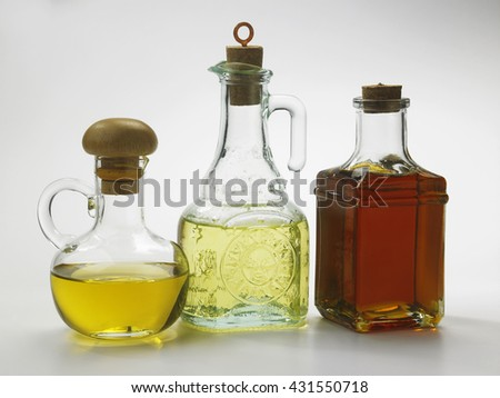 different type of oil in bottles - stock photo