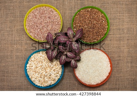 Different type of rice .Diet - stock photo