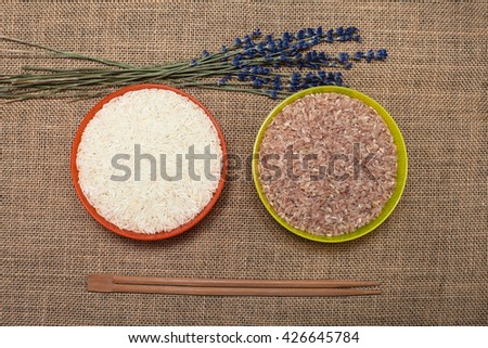 Different type of rice in a plate - stock photo