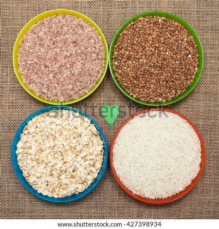 Different type of rice. Natural food - stock photo