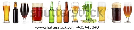 Different types of beer in glasses and bottles, isolated on white - stock photo
