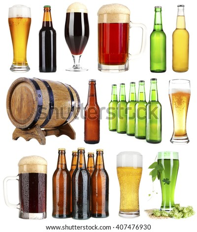 Different types of beer, isolated on white - stock photo