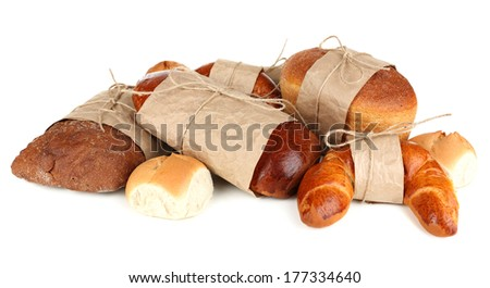 Different types of bread isolated on white - stock photo