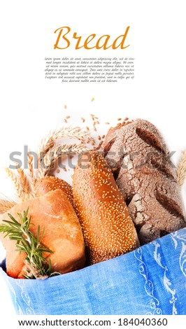Different types of bread with space for text - stock photo