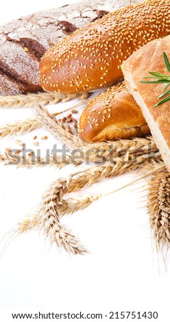 Different types of bread with space for text