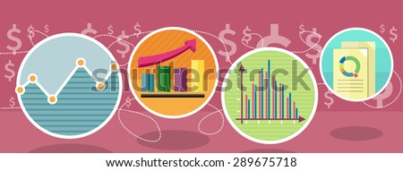 Different types of charts that show changes of share prices. Round color icons. Design concept. For web site construction, mobile applications, banners, corporate brochures, book cover. Raster version - stock photo