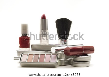Different types of cosmetics on white background.