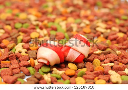 Different types of dry food for dogs - stock photo