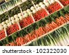 different types of fresh vegetables on market - stock photo