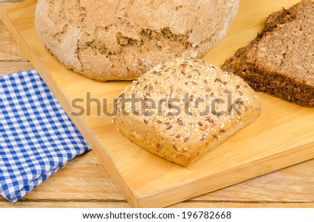 Different types of German whole wheat bread