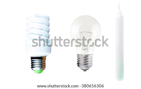 Different Types Of Lamps And Candle On A White Background