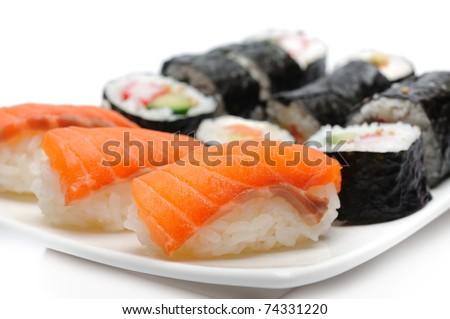 Different Types of Maki Sushi and Nigiri Sushi in Sushi Set - stock photo