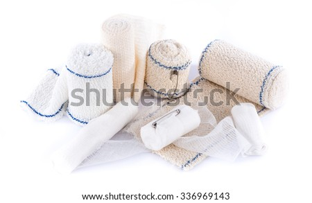 Different types of medical bandages, isolated on white