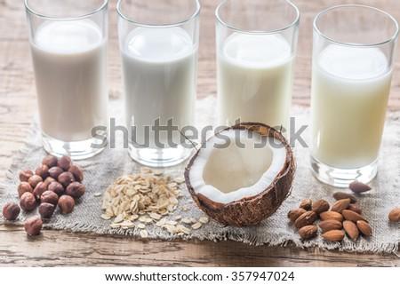 Different types of non-dairy milk - stock photo