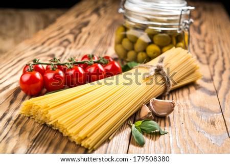 different types of pasta - stock photo