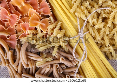 Different types of pasta close up - stock photo