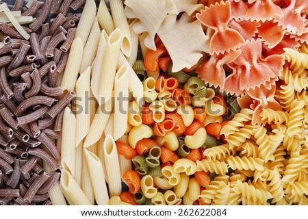 Different types of pasta, macro view - stock photo