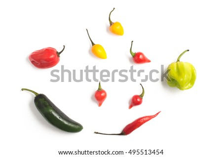Different types of Pepper Spice. Biquinho, malagueta, chilly, caiena (cayena)