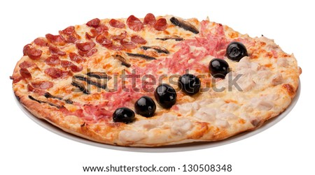 Different types of pizza isolated on white background