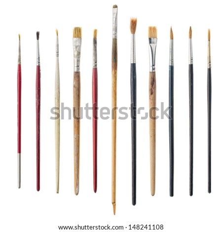Different used art brushes isolated on white background. - stock photo