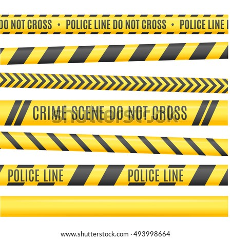 Different Variants of Police Line Set, Do Not Cross on a White Background. illustration of Yellow Headband Tape, Murdered Scene, Police Ribbon