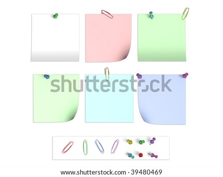 Different variations of paper stickers - stock photo