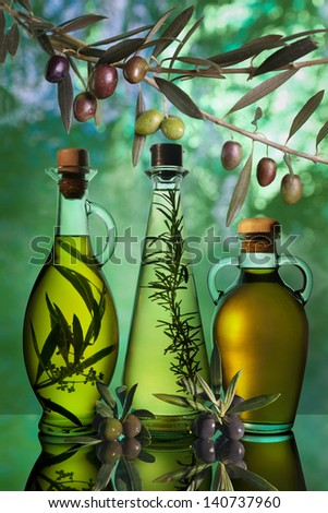 different varieties of olive oil - stock photo