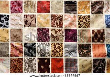 Different various types of fabric background, oriental ornament - stock photo