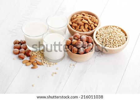 different vegan milk - food and drink - stock photo