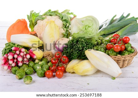 different vegetable on the rustic white table - stock photo