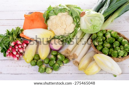 different vegetable on the white table - stock photo