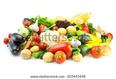 Different Vegetables / Big Assortment of Food isolated on white background with copy space