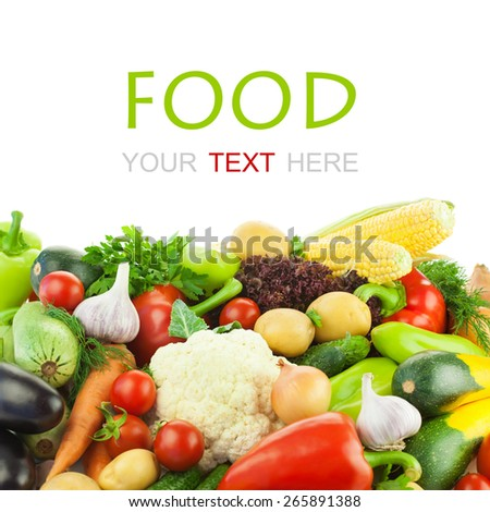 Different Vegetables / Big Assortment of Food / on white background with copy space