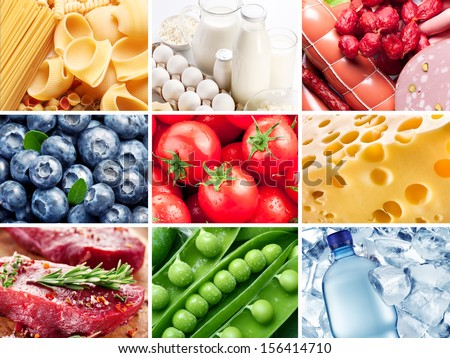 Different vegetables  fruits and products gathered in collection. - stock photo