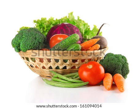 Different vegetables in basket isolated on white