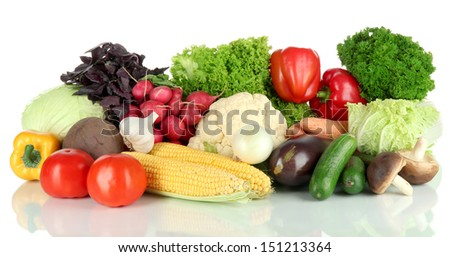 Different vegetables isolated on white - stock photo