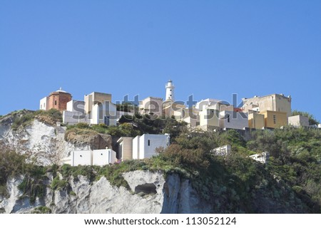 Different view of island Ponza - Italy - stock photo