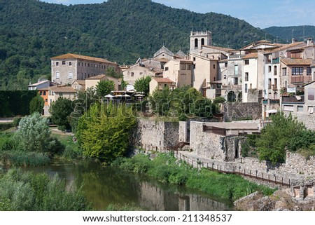 Different views and details of the medieval town of Besalu in Catalonia - Spain