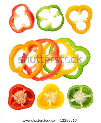 different views of bell peppers isolate on white background - stock photo