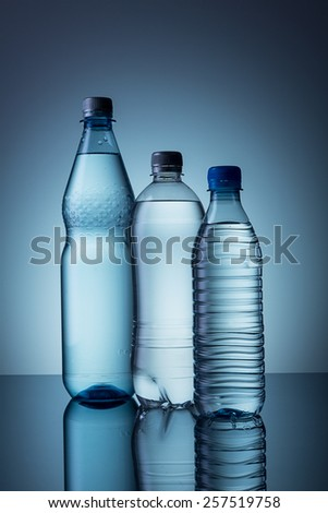 different water bottels - stock photo