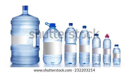 Different water bottles isolated on white, Water Bottles Mockup  - stock photo