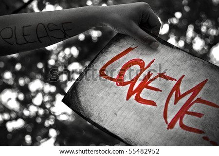 different way to ask for love - stock photo