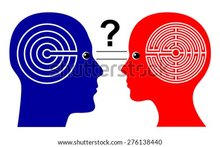 Different Ways of Thinking. Rising the question if men and women think differently leading to misunderstanding - stock photo