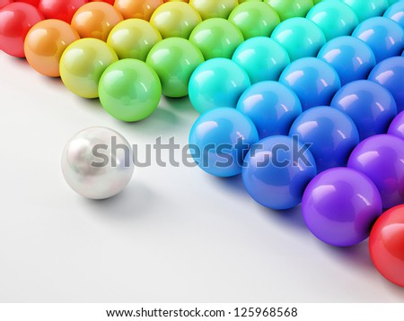 Different white ball with reflection - stock photo