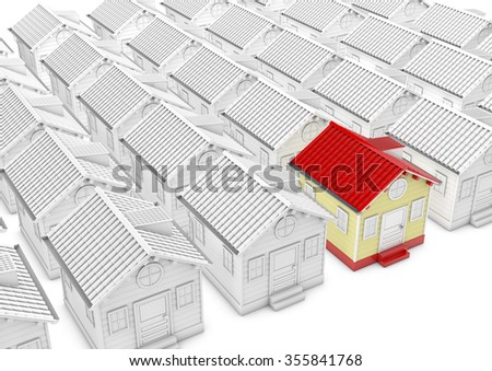 Different white house and one red house, 3d rendered picture. metaphor of search house, property, village etc. - stock photo