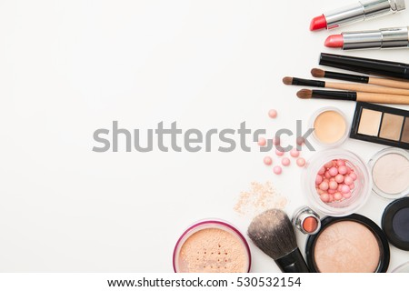 Different woman beauty cosmetics. Isolated