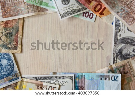 different World banknotes - stock photo