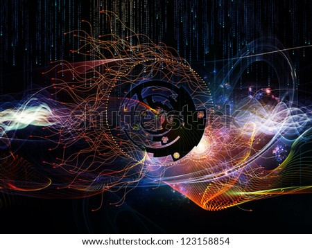 Differential Engine Series. Graphic composition of gears, numbers and fractal elements to serve as complimentary design for subject of computers, technology and mathematical science - stock photo