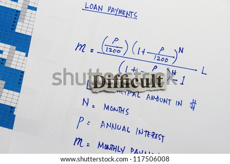 Difficult abstract- formula for loan principal and interest in business. - stock photo