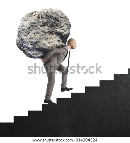 Difficult career with great effort and determination - stock photo